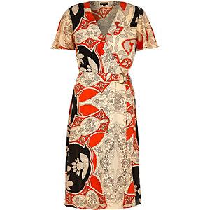 Orange floral print D-ring midi dress
