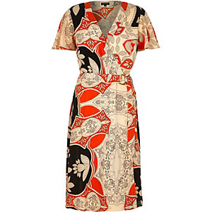 Orange floral print D-ring midi dress
