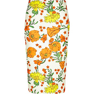 Orange floral print pencil skirt