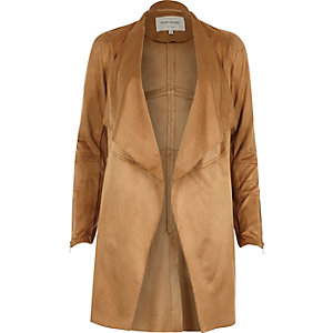 Brown faux suede jacket