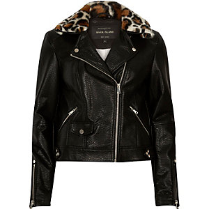Black leather-look faux fur biker jacket