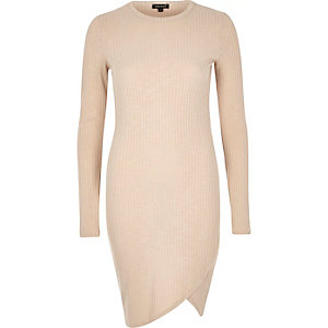 Beige ribbed wrap front bodycon dress