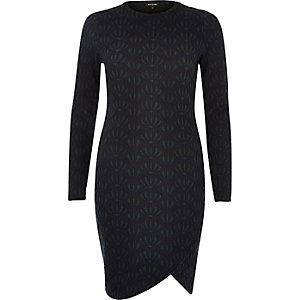 Navy jacquard bodycon wrap dress