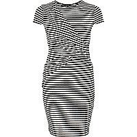 Black stripe wrap bodycon dress