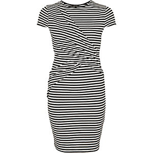 Black stripe wrap bodycon dress