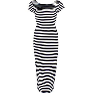 Cream stripe scoop back bodycon midi dress