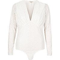 Cream lace plunge bodysuit