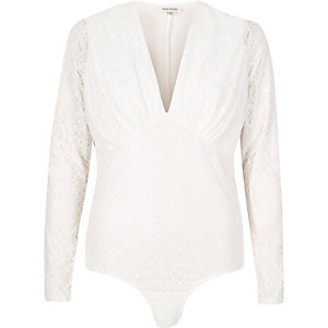 Cream lace plunge bodysuit