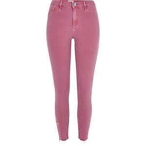 Pink Molly ripped hem jeggings