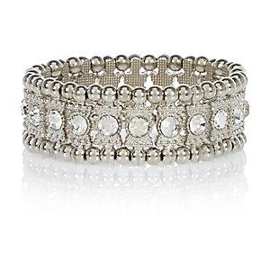 Silver tone stretch embellished bracelet