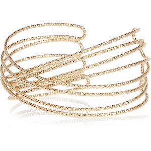 Gold tone wrap cuff bracelet