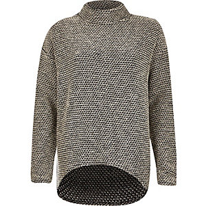 Grey knitted slouchy high neck sweater
