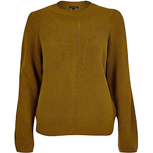 Dark yellow knitted zip back jumper