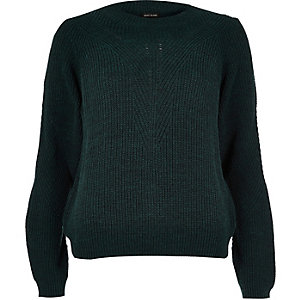 Dark green knitted zip back jumper