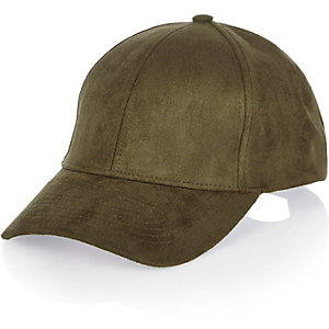 Khaki faux suede cap