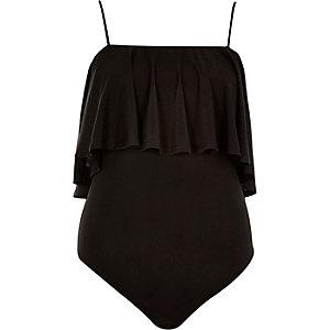 Black frilly bodysuit
