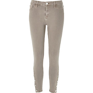 Beige button Molly jeggings
