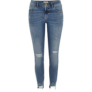 Mid blue wash ripped Matilda skinny jeans