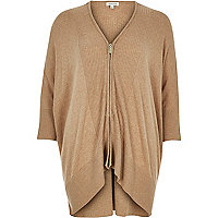 Brown knitted zip-up cardigan
