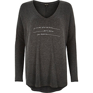 Grey slogan print V-neck top