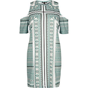 Green paisley print cold shoulder dress