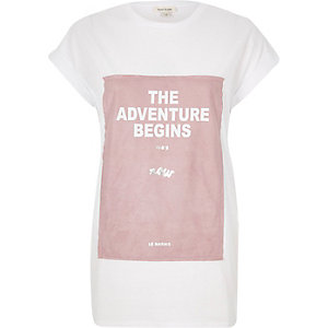 White adventure print oversized t-shirt