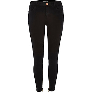 Washed black biker Amelie superskinny jeans