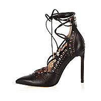 Black laser cut lace-up heels