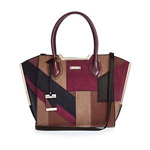 Pink patchwork tote handbag