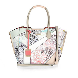 Green floral print winged tote handbag