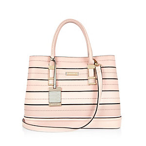 Pink stripe stitched tote bag