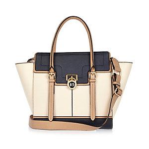 Navy padlock winged tote handbag