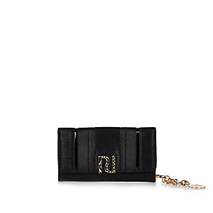 Black branded fold out purse