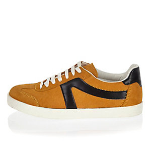 Yellow suede lace-up sneakers