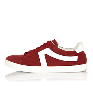 Dark red suede lace-up trainers