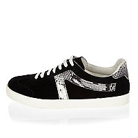 Black suede lace-up sneakers