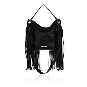 Black fringed bucket handbag