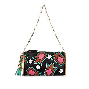 Black appliqué pattern handbag
