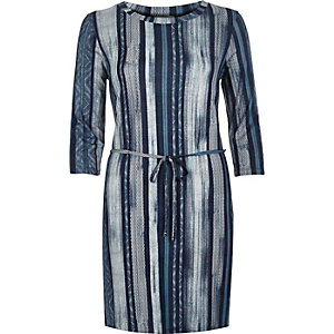 Blue stripe belted tunic