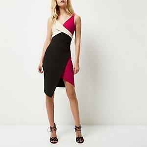 Black wrap asymmetric bodycon dress