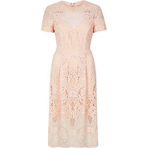 Light pink lace midi dress