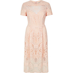 Light pink lace midi dress