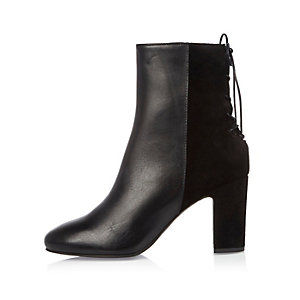 Black leather lace-up back ankle boots
