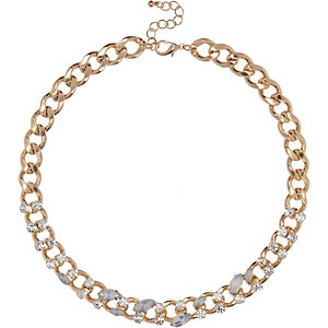Gold tone embellished chain necklace