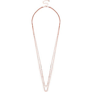 Rose gold tone long necklace