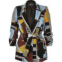 Brown pattern belted jacket