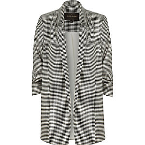 Black houndstooth ruched sleeve blazer