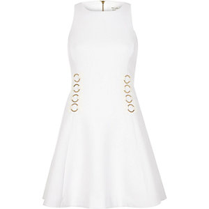 White waist detail skater dress