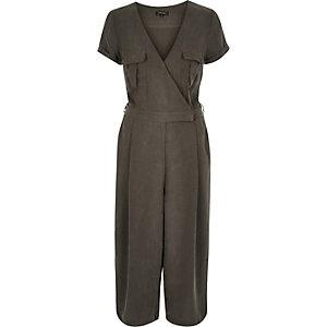 Khaki smart minimal culotte jumpsuit