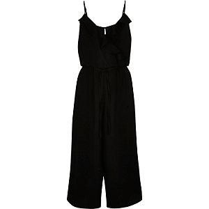 Black frilly wrap front culotte jumpsuit